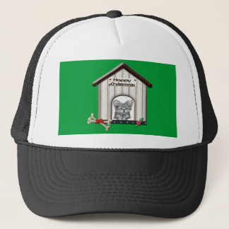 Cute Christmas Yorkie Dog House Trucker Hat