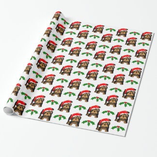 Cute Christmas Yorkshire Terrier Puppy Dog Cartoon Wrapping Paper