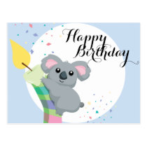 Cute Chubby cartoon Koala illustration birthday Postcard