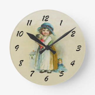Cute Chubby Cheeks Vintage Girl with Dolls Round Clock