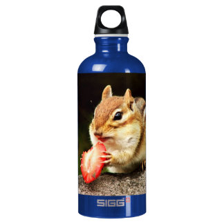 Cute Chubby Chipmunk with Strawberry Aluminum Water Bottle