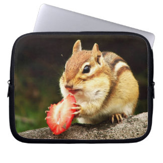 Cute Chubby Chipmunk with Strawberry Computer Sleeves