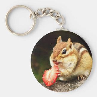 Cute Chubby Chipmunk with Strawberry Keychain