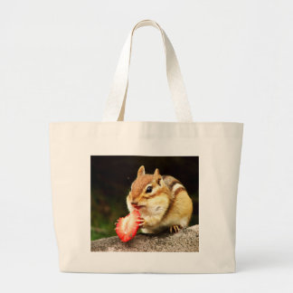 Cute Chubby Chipmunk with Strawberry Large Tote Bag