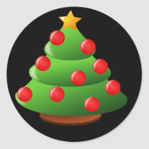 cute chubby Christmas tree Classic Round Sticker