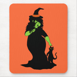 Cute Chubby Green Witch Mousepad