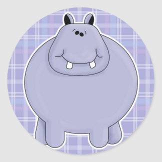cute chubby hippo round stickers