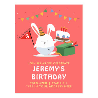Cute chubby Little Bunny with cake birthday party Postcard