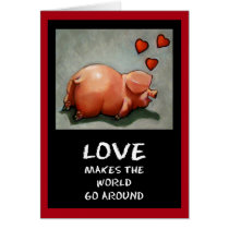 Cute Chubby Piggy: Love, Red Hearts: Oil Pastel Card