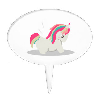 Cute chubby unicorn chibi blushing cake topper