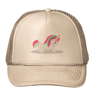 Cute chubby unicorn chibi blushing trucker hat