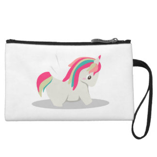 Cute chubby unicorn chibi blushing wristlet wallet