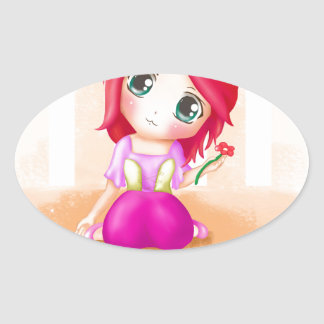 Cute Cindy Anime Manga Chibi Colorful Oval Sticker