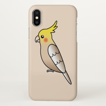 Beach Themed Cute Cinnamon Cockatiel Cartoon Bird Illustration iPhone X Case