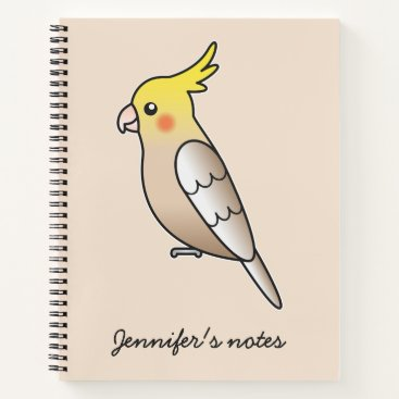 Beach Themed Cute Cinnamon Cockatiel Cartoon Bird Illustration Notebook