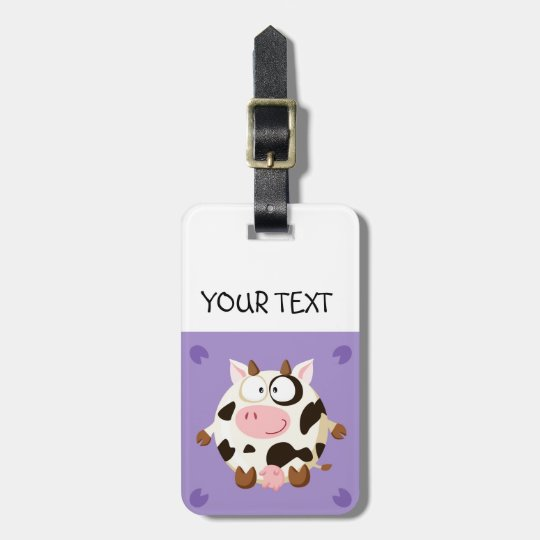 Cute circle cow luggage tag