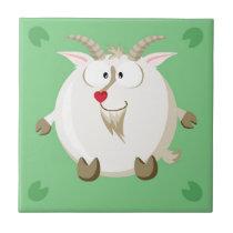 Cute circle goat ceramic tile