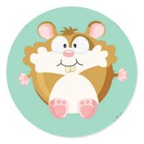 Cute circle hamster classic round sticker