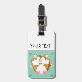 Cute circle hamster luggage tag