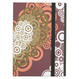 Cute Circle Hearts Pattern Earth Tones iPad Folio Case