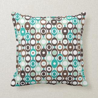 Cute circle retro pattern blue design throw pillow