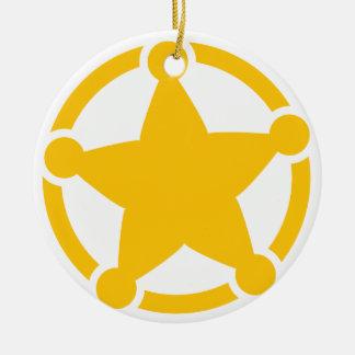 Cute circle sheriff badge ceramic ornament