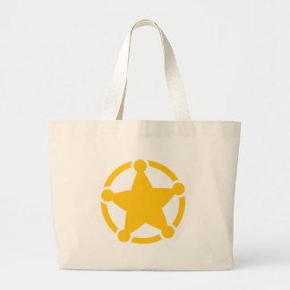 Cute circle sheriff badge large tote bag