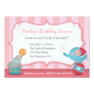 Cute Circus Animals Theme Birthday Party, for Kids Card