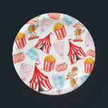 """Cute circus carnival children party paper plates<br><div class=""""desc"""">This is a cute circus carnvial childern party paper plates. Perfect for any kids party with a circus or carnival theme.  Has different watercolor illustrations of different circus/carnival elements.</div>"""