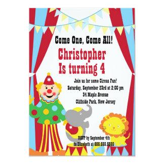 Cute Circus Clown Birthday Party Invitations