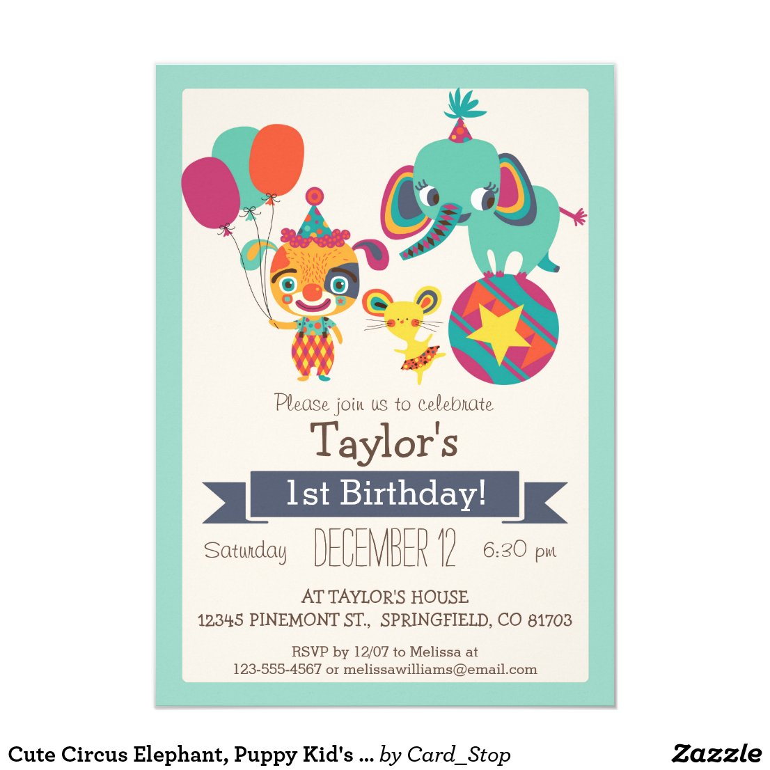 Cute Circus Elephant, Puppy Kid's Birthday Party Card