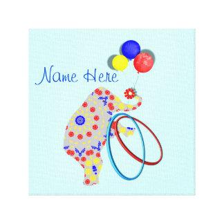 Cute Circus Elephant Red Blue Yellow Nursery Print