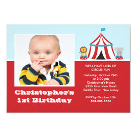 CUTE Circus Kids Birthday Party Invitation PHOTO 5