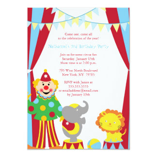Cute circus theme boy / girl birthday party invite