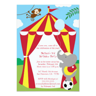 "Cute circus theme boy / girl birthday party invite 4.5"" x 6.25"" invitation card"