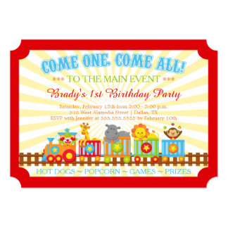 Cute circus train birthday party invitation