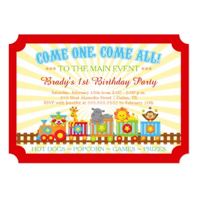 kids circus train birthday party invitation | zazzle, Birthday invitations