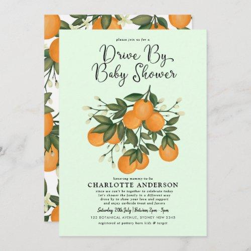 Cute Citrus Drive By Baby Shower Orange Quarantine Invitation