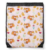Cute Citrus Fox Pattern Drawstring Backpack