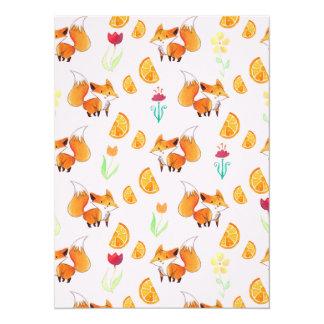 Cute Citrus Fox Pattern Custom Invites