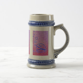 Cute Clam Shell Under the Sea Blue Purple Beer Stein