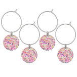 Cute classic colorful flowers pattern wine glass charm