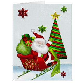 Cute Classic Santa Whimsey CUSTOM ALL SIZES Card
