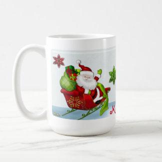 Cute Classic Santa Whimsey PERSONALIZED HOLIDAY Coffee Mug