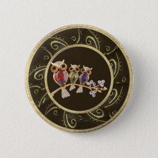 Cute, Classy Owls Jewels Photo Print Button