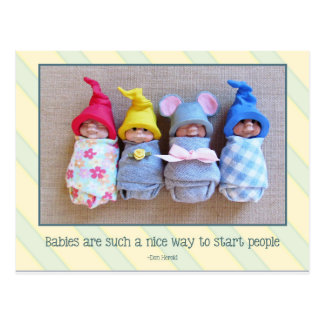 Cute Clay Babies, Quote by Don Herold, Sculptures Postcard