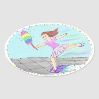 Cute Cleaning Lady Oval Sticker
