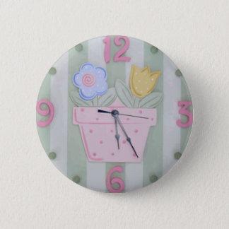 Cute Clock Style Kids Button - Growing Flowers