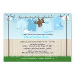 Cute Clothesline Baby Boy Modern Baby Shower 5x7 Paper Invitation Card