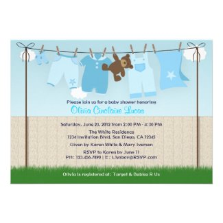 Cute Clothesline Baby Boy Modern Baby Shower Custom Announcements